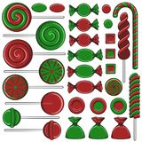 Set of color illustrations with Christmas red and green sweets. Isolated vector objects. Stock Image