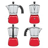 Set of color illustrations of red geyser coffee makers. Isolated vector objects. Set of color illustrations of red geyser coffee makers. Isolated vector objects vector illustration