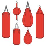 Set of color illustrations with a red punching bag, boxing pears. Isolated vector objects. Set of color illustrations with a red punching bag, boxing pears vector illustration