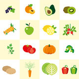 Set of color images of vegetables and fruit in a flat style. Stock Photos