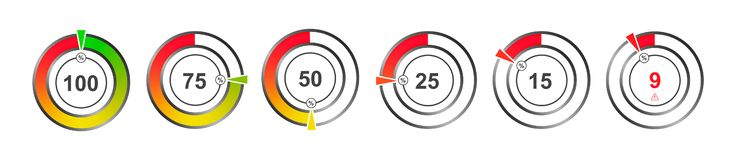Set of color indicators of percentage charts stock illustration