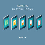 Set of color isometric battery icons with mobile phones. Royalty Free Stock Image
