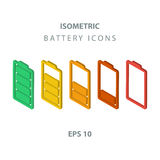 Set of color isometric battery icons. Royalty Free Stock Images