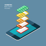 Set of color isometric battery icons. Royalty Free Stock Photos