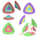 Set of color isometric circle diagrams Stock Images