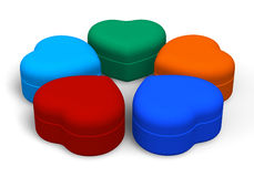 Set of color jewellery boxes Royalty Free Stock Image