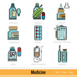 Set of Color Kinds of Medicine Outline Web Icons Stock Photos