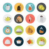 Set of color kitchen icons on color round backgrounds Royalty Free Stock Image