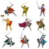Set of color knights in different poses hand axes, foils, swofds on white background stock illustration