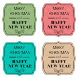 Set of color labels for Christmas cards. Vector Royalty Free Stock Photos
