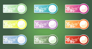Set of color labels, on a green background. Vector Royalty Free Stock Images