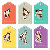 A set color labels with monkeys. Pastel colorful labels for gifts with the image of monkeys Stock Photography
