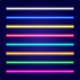 Set of color laser beams. Neon tube light. Vector. Royalty Free Stock Photos