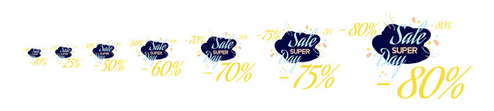 Set Color lettering for special sale offer sign. Flat  illustration EPS 10.  Royalty Free Stock Image