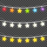 Set of color light bulbs borders Royalty Free Stock Photography