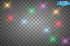 Set of color lights, flares  on transparent background. Stock Image