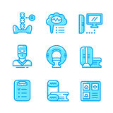 Set color line icons of magnetic resonance imaging Stock Photos
