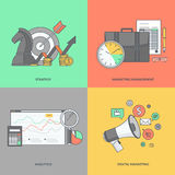 Set of color line icons on the theme of business and marketing Royalty Free Stock Photo