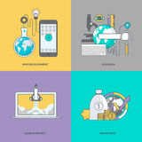 Set of color line icons on the theme of business Stock Image