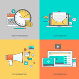 Set of color line icons on the theme of digital marketing Royalty Free Stock Images