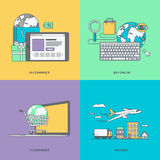 Set of color line icons on the theme of e-commerce Royalty Free Stock Photo
