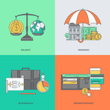 Set of color line icons on the theme of finance Royalty Free Stock Image