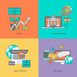 Set of color line icons on the theme of finance. Set of vector color line icons Stock Photo
