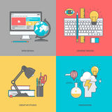 Set of color line icons on the theme of graphic and web design Stock Images