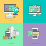Set of color line icons on the theme of internet banking, online payment. Icons for m-banking, online banking, finance, accounting, earn online Stock Photos