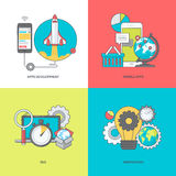 Set of color line icons on the theme of mobile apps development Stock Photography