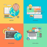 Set of color line icons on the theme of web development and social media Royalty Free Stock Image