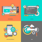 Set of color line icons on the theme of web development Stock Image