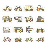 Set color line icons of transport Royalty Free Stock Photography