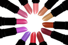 Set of color lipsticks forming a circle. Lipstick set isolated o. N white background stock images