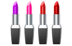 Set of color lipsticks. Red lipstick, pink lipstick, wine lipstick. Red lipstick set  on white background ,3D render. Royalty Free Stock Photography