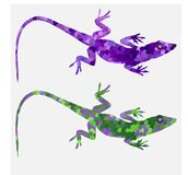 Set of color lizards salamanders purple Royalty Free Stock Image
