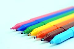 Set of color markers stock image