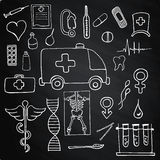 Set color medical on chalk board symbols and signs Stock Photography