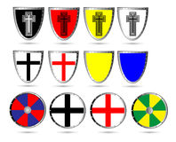 Set of color medieval shields. Isolated on white background Royalty Free Stock Photography