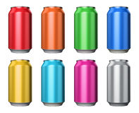 Set of color metal drink cans Royalty Free Stock Images
