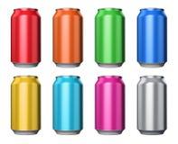 Set of color metal drink cans Royalty Free Illustration