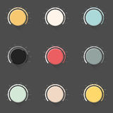 Set of color music button, volume knob with realistic designed shadow. Stock Photos