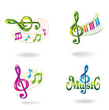 Set of color music icons. Stock Images
