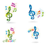 Set of color music icons. Stock Photo