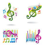 Set of color music icons. Royalty Free Stock Photography