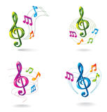 Set of color music icons. Stock Photography