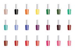 Set of color nail polish. Stock Photos