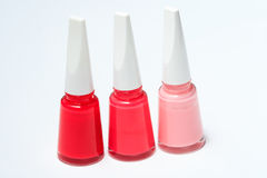 Set of color nail polish on white Stock Photos