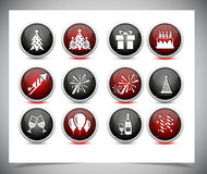 Set of color new year buttons. Royalty Free Stock Photography