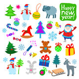 Set of Color New Year Icons Royalty Free Stock Photo
